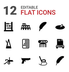 12 antique icons vector