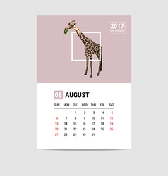 2017 August calendar giraffe polygon vector