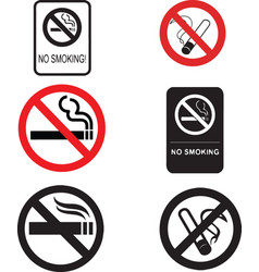 6 no smoking signs vector image