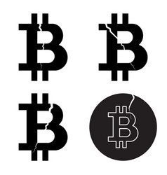 A set of digital bitcoin crypto symbols with a vector