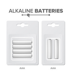 Aaa batteries packed alkaline battery vector