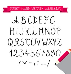 ABC - Hand Written Sketched Funky Retro Font vector image