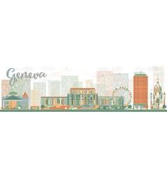 Abstract Geneva skyline with Color landmarks vector