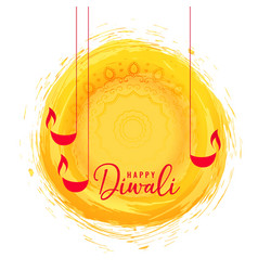 Abstract happy diwali festival card with diya vector
