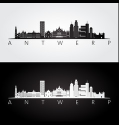antwerp skyline and landmarks silhouette black vector image