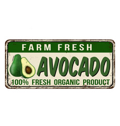 Avocado vintage rusty metal sign vector