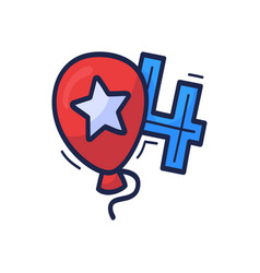 Balloon icon with number july 4 is vector