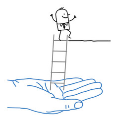 Big hand and cartoon businessman - help and ladder vector
