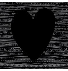 Black heart on ethnic pattern background vector