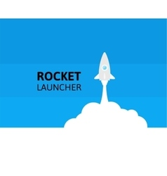 Blue rocket and white cloud icon in flat style vector