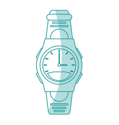 Blue silhouette shading sport male wristwatch vector