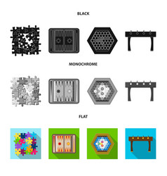Board game black flat monochrome icons in set vector