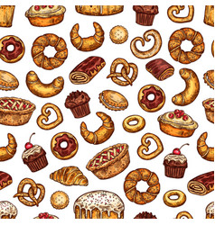 bread and desserts pastry sketch pattern vector image