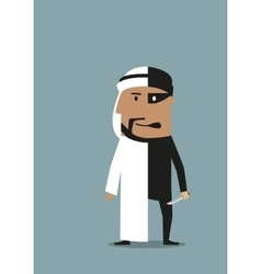 Businessman and robber are in one arab man vector