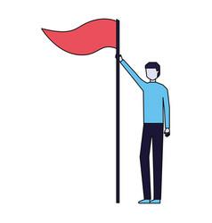 businessman holding flag on white background vector image