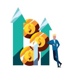 businessman money bank arrow up vector image