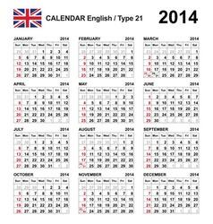 Calendar 2014 English Type 21 vector