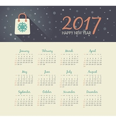 Calendar 2017 year with christmas bag vector
