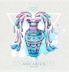Card with astrology aquarius zodiac sign vector