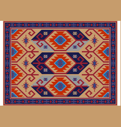 Carpet in yellow maroon with gray and ultramarine vector