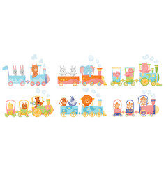 cartoon set with different animals on trains fox vector image