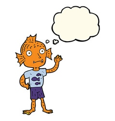 Cartoon waving fish boy with thought bubble vector