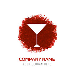 cocktail drink icon - red watercolor circle splash vector image