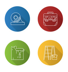construction tools flat linear long shadow icons vector image