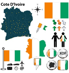 Cote Dlvoire map vector image