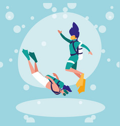 couple practicing diving avatar character vector image