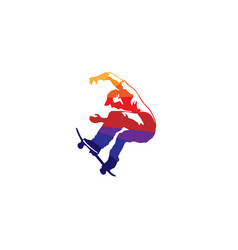 creative skateboarder jumping man logo vector image