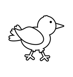 cute bird comic icon outline vector image