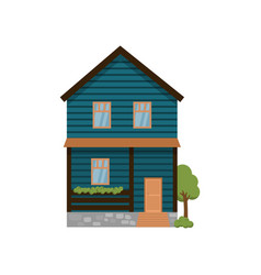 dark blue two-storey house with terrace isolated vector image