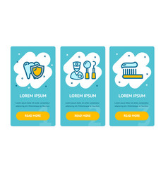 dental health app screens web banners cards set vector image