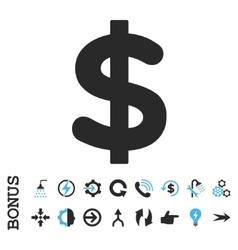 Dollar Flat Icon With Bonus vector image