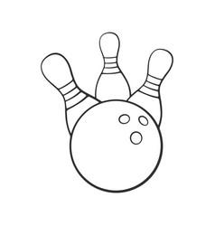 doodle bowling ball knocks down pins vector image