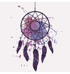 Dream catcher with watercolor splash vector