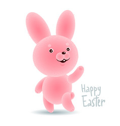 Easter bunny and happy easter text vector