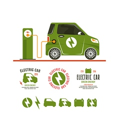 electric car Icons and labels vector image