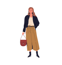 Fashionable young woman in trendy clothes vector