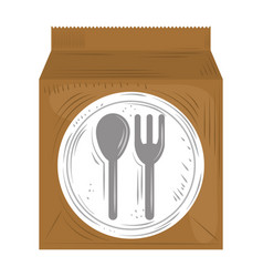 Fast delivery service paper bag takeaway food vector