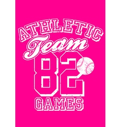Female athletic team basebal design on pink vector
