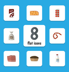 Flat icon food set of fizzy drink bratwurst vector
