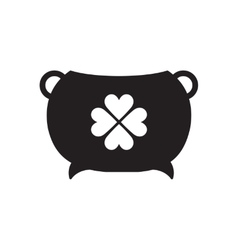 Flat icon in black and white pot of gold vector