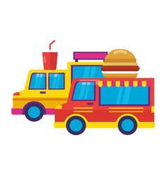 Food trucks burger and soda vector