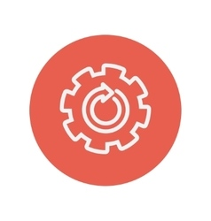 Gear wheel with arrow thin line icon vector image