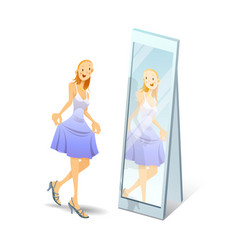 girl on heels looks in mirror - eps vector image