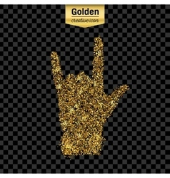 Gold glitter icon of hand rock isolated on vector image