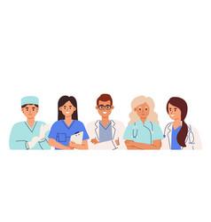 group doctors nurses surgeon pharmacist and vector image