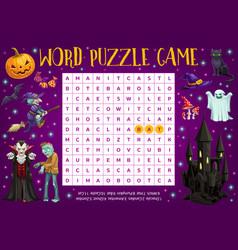 Halloween word puzzle crossword riddle worksheet vector